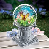 Fiber Optic Butterfly Gazing Ball with Solar Lights I